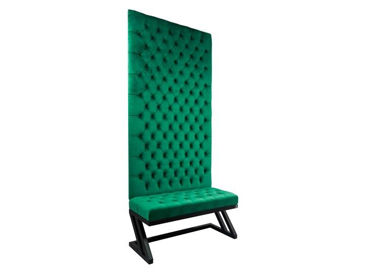 Ławka Metalowa z Panelem Ściennym Pikowanym Siedzisko Pikowane Butelkowa Zieleń LPPK-49 Rozmiary od 50 cm do 100 cm Pikowana Kolor Zielony Styl Glamour