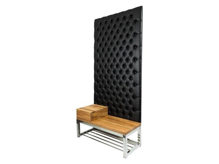 Ławka Metalowa z Panelem Ściennym Pikowanym Czarna Ekoskóra Siedzisko Drewno Lite LPPK-64 Rozmiary od 50 cm do 100 cm