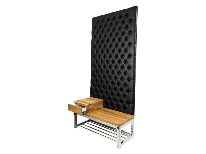 Ławka Metalowa z Panelem Ściennym Pikowanym Czarna Ekoskóra Siedzisko Drewno Lite LPPK-64 Rozmiary od 50 cm do 100 cm Pikowana Pomieszczenie Garderoba