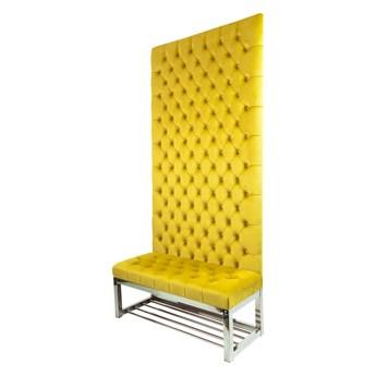 Ławka Metalowa z Panelem Ściennym Pikowanym Siedzisko Pikowane Cytrynowa Żółcień LPPK-66 Rozmiary od 50 cm do 100 cm