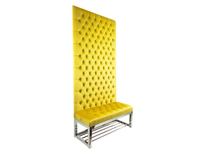 Ławka Metalowa z Panelem Ściennym Pikowanym Siedzisko Pikowane Cytrynowa Żółcień LPPK-66 Rozmiary od 50 cm do 100 cm Pikowana Kolor Szary Pomieszczenie Sypialnia