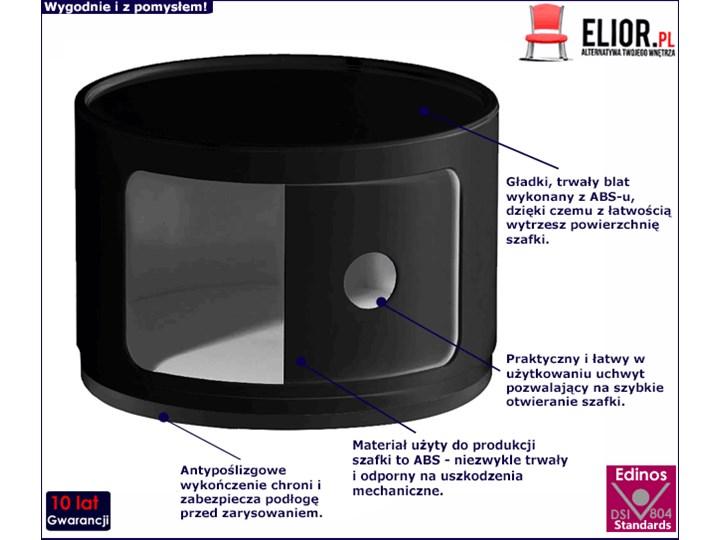 Okrągła czarna szafka nocna - Pris 2X Pomieszczenie Sypialnia