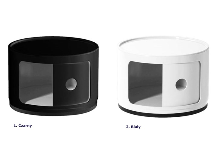 Okrągła czarna szafka nocna - Pris 2X Kolor Czarny