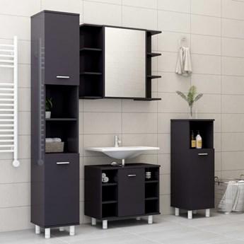 vidaXL 3-cz. zestaw mebli łazienkowych, wysoki połysk, szary, płyta