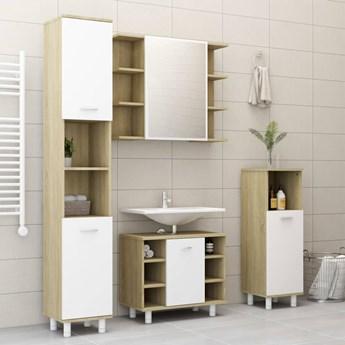 vidaXL 3-częściowy zestaw mebli łazienkowych, biel i dąb sonoma, płyta