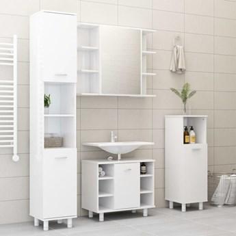 vidaXL 3-cz. zestaw mebli łazienkowych, wysoki połysk, biały, płyta