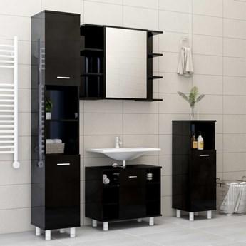 vidaXL 3-cz. zestaw mebli łazienkowych, wysoki połysk, czarny, płyta