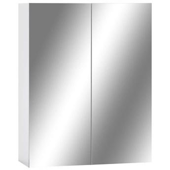 vidaXL Szafka łazienkowa z lustrem, biała, 60x15x75 cm, MDF