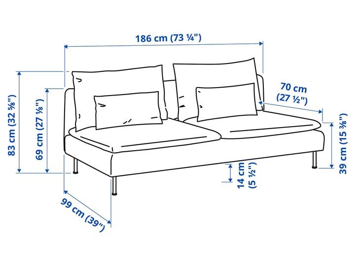 IKEA SÖDERHAMN Sekcja 3-osobowa, Samsta pomarańczowy, Szerokość: 186 cm Modułowe Pomieszczenie Salon Wielkość Trzyosobowa