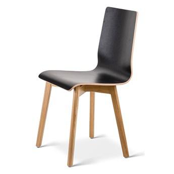 LUKA W krzesło laminowane czarne, dębowa rama