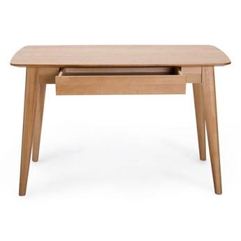 Biurko z szufladą i nogami z drewna dębowego Unique Furniture Rho, 120x60 cm