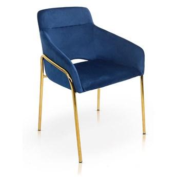 Krzesło VERONA niebieski aksamit / noga złota