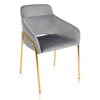 Krzesło VERONA szary aksamit / noga złota
