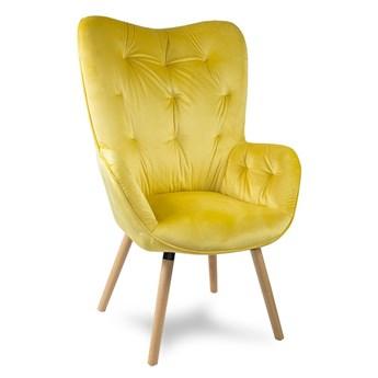 Fotel uszak welur na drewnianych bukowych nogach skandynawski do salonu żółty F906Y