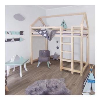 Podwyższane łóżko z drewna świerkowego z drabinką po prawej stronie Benlemi Nesty, 90x200 cm