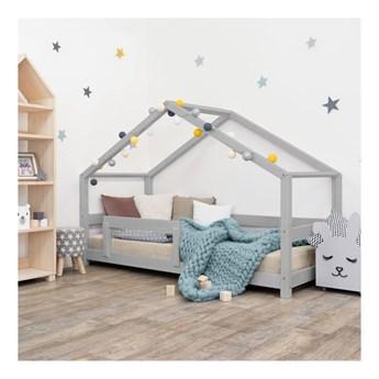 Szare łóżko dziecięce w kształcie domku z barierką Benlemi Lucky, 90x200 cm