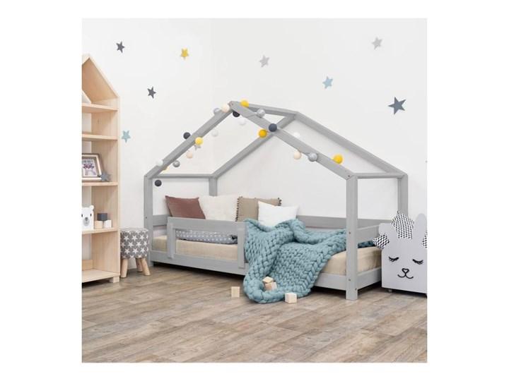 Szare łóżko dziecięce w kształcie domku z barierką Benlemi Lucky, 90x200 cm Domki Drewno Kategoria Łóżka dla dzieci Kolor Szary
