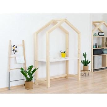 Naturalne drewniane biurko w kształcie domku z białym blatem Benlemi Stolly, 97 x 39 cm