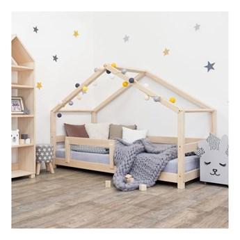 Naturalne łóżko dziecięce w kształcie domku z barierką Benlemi Lucky, 90x180 cm