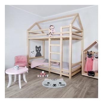 Naturalne łóżko piętrowe z drewna świerkowego z drabinką po prawej stronie Benlemi Twiny, 120x200 cm