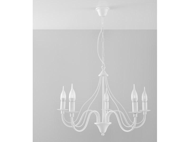 SOLLUX Klasyczna Lampa Wisząca Świece Żyrandol MINERWA 5 Biały Styl Vintage Stal Metal Styl Klasyczny