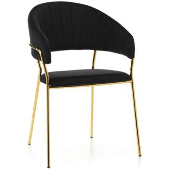 Krzesło Glamour czarne na złotych nogach C-889 Welur