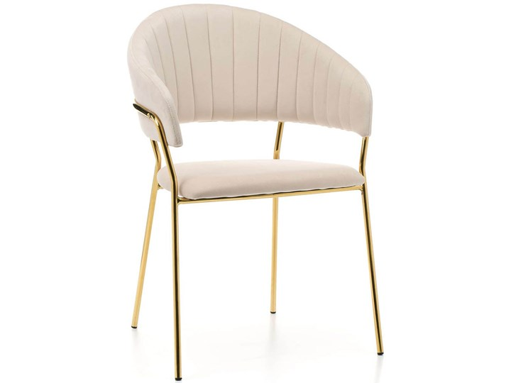 Krzesło tapicerowane Glamour • C-889 • welur beż, złote nogi
