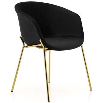 Krzesło tapicerowane Glamour ZL-1486 czarne, złote nogi, welur