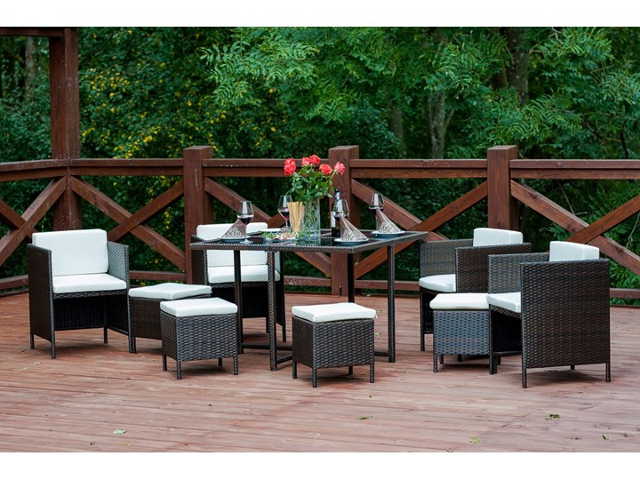 Technorattanowe meble stołowe CRISTALLO Stoły z krzesłami Zestawy obiadowe Kolor Czarny