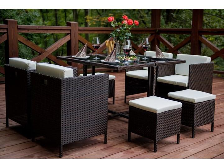 Technorattanowe meble stołowe CRISTALLO Zestawy obiadowe Stoły z krzesłami Kolor Czarny