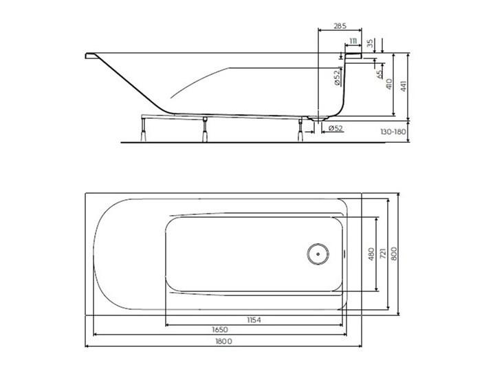 Koło Comfort Plus wanna prostokątna 180x80 cm bez uchwytów XWP1480000 Akryl Kategoria Wanny Symetryczne Kolor Biały