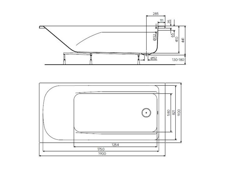 Koło Comfort Plus wanna prostokątna 190x90 cm bez uchwytów XWP1490000 Kategoria Wanny Symetryczne Akryl Kolor Biały