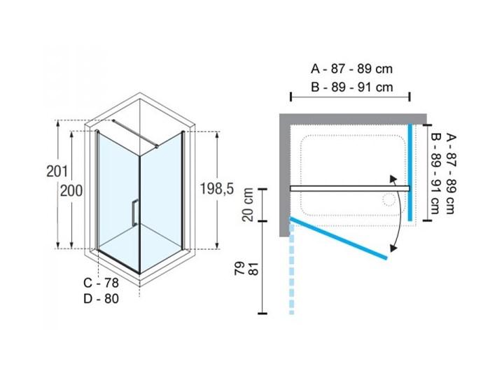 Novellini Young 2.0 G+F kabina prysznicowa kwadratowa 90 cm czarny mat Y2G871H+Y2FG871H Wysokość 200 cm Kolor Przezroczysty