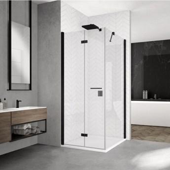 Sanswiss Solino kabina prysznicowa kwadratowa 90 cm lewa czarny mat SOLF1G09000607+SOLT109000607