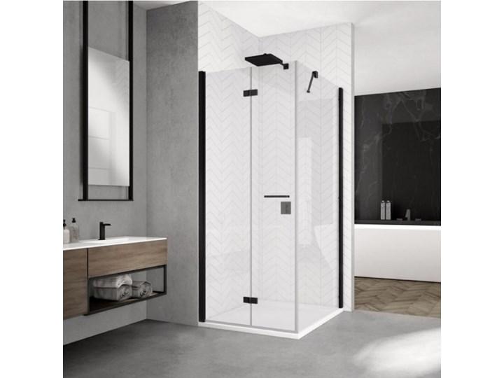 Sanswiss Solino kabina prysznicowa kwadratowa 90 cm lewa czarny mat SOLF1G09000607+SOLT109000607 Przyścienna Narożna Rodzaj drzwi Uchylne