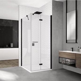 Sanswiss Solino kabina prysznicowa kwadratowa 90 cm prawa czarny mat SOLF1D09000607+SOLT109000607