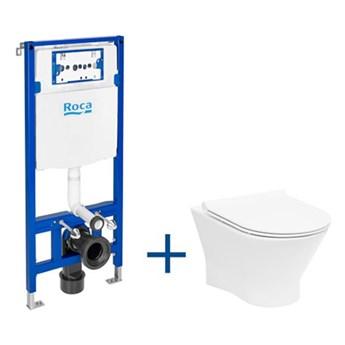 Roca Nexo zestaw podtynkowy + miska WC RImless z deską wolnoopadającą Slim A893104460
