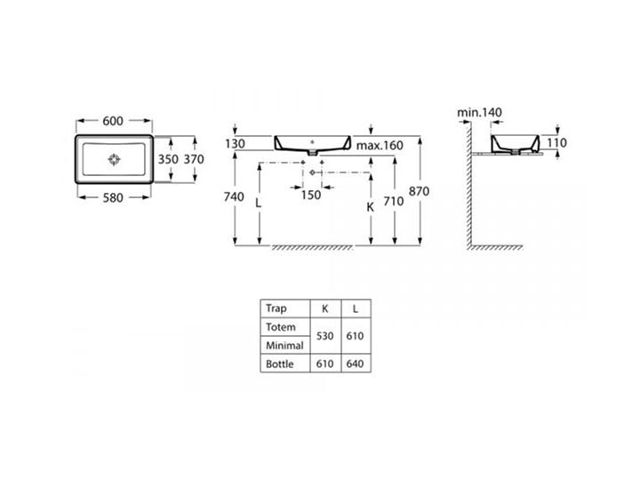Roca Alter umywalka nablatowa prostokątna 60x37 cm A3270Y2000 Prostokątne Nablatowe Szkło Kategoria Umywalki