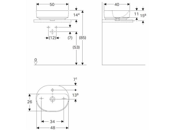 Koło Variform umywalka nablatowa 50x40 cm 500.775.01.6 Owalne Nablatowe Kategoria Umywalki