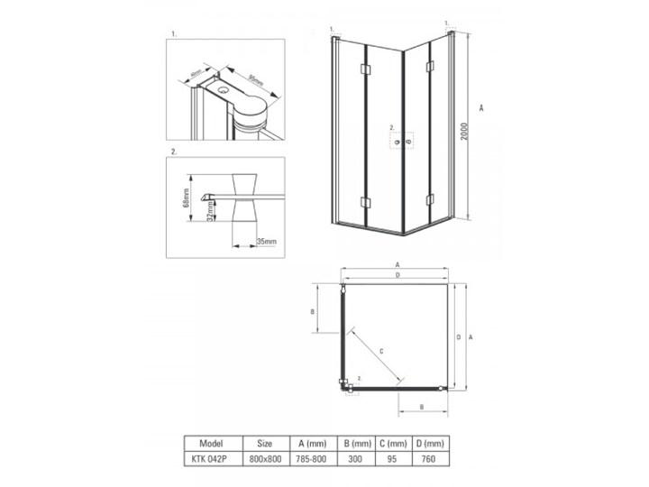 Deante Kerria kabina prysznicowa kwadratowa 80 cm KTK 042P Rodzaj drzwi Składane Wysokość 200 cm Szerokość 90 cm Brodzik Bez brodzika