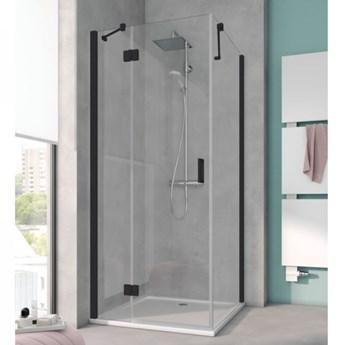 Kermi Osia kabina prysznicowa kwadratowa 90 cm czarny mat lewa OSSTL090203PK+OSTWD090203PK
