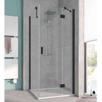 Kermi Osia kabina prysznicowa kwadratowa 90 cm czarny mat prawa OSSTR090203PK+OSTWD090203PK
