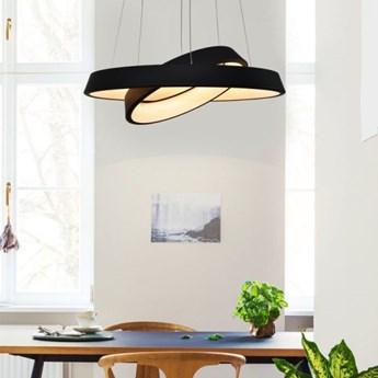 MCODO ::  Designerska lampa wisząca led Orbit RP2 z podwójnym ringiem czarna z ciepłą barwą 3000K