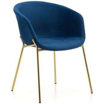 Krzesło Glamour ZL-1486 granatowy welur, złote nogi