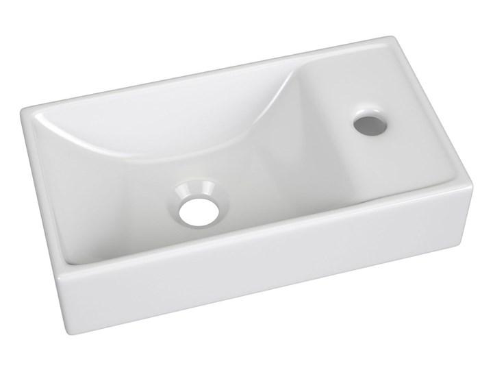 Ceramiczna umywalka prostokątna Sonet - biała Prostokątne Nablatowe Ceramika Kolor Biały Kategoria Umywalki
