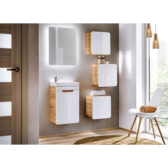 Nowoczesny zestaw mebli łazienkowych Borneo 2Q 40 CM - Biały połysk