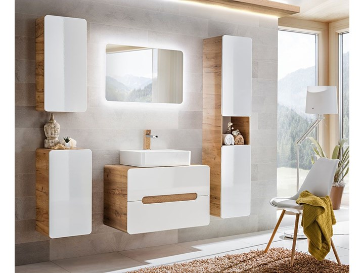 Komplet wiszących mebli łazienkowych Borneo 4Q 60 cm - Biały połysk Kategoria Zestawy mebli łazienkowych