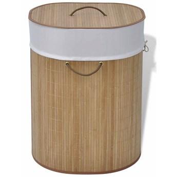 Owalny bambusowy kosz na pranie Lavandi 3X- naturalny