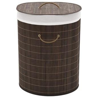 Bambusowy owalny pojemnik na pranie Lavandi 3X - ciemnobrązowy