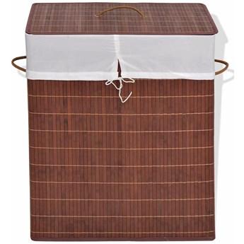Kosz z bambusa na pranie Lavandi 4X - brązowy